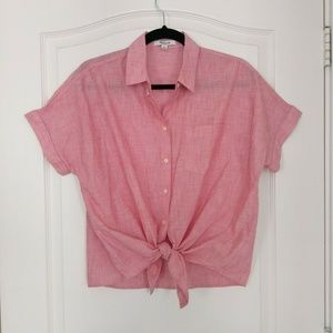 Madewell Womens Top Blouse Tie Front Shirt S Pink